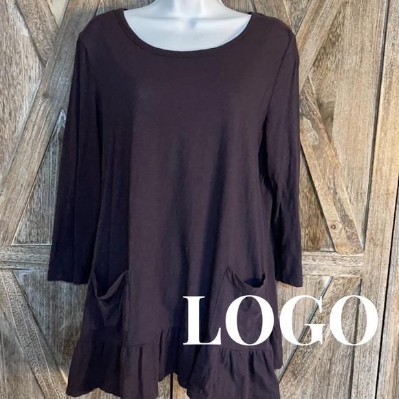 LOGO by Lori Gernstein, L, Dark Purple Tunic